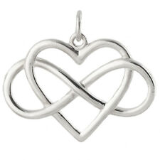 Infinity Heart Charm - 925 Sterling Silver - Infinite Pendant Love Heart Hearts