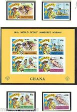 GHANA BOY SCOUT 1975 14th WORLD JAMBOREE  SER & S/S IMPERFORATED MINT NH
