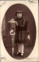 Glückwunsch AK ~1930 Schulgang Schule Einschulung Echtfoto Mädchen Schultüte