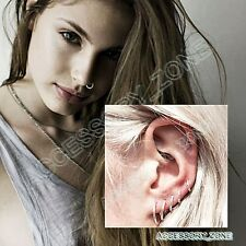 New Small Thin Nose Ring Nose Hoop Surgical Steel Silver Piercing Stud-UK SELLER