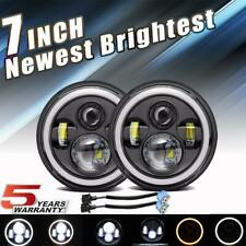 "Pair 7"" INCH 300W LED Headlights Halo Angle Eye For Jeep Wrangler CJ JK LJ 97-18"