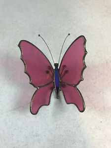 "vintage Soldered Copper Stained Glass Pink Purple Butterfly 2 3/4"" x 3 1/2"""