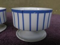 3 Vintage SOLAR Blue White Stripe Footed Dessert Ice Cream Sorbet Bowls