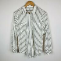 Forever New Womens Blouse Size 10 White Stripe Long Sleeve Good Condition