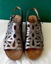 Josef Seibel Women's silver Open Toe Sling Back Wedge Sandals Size EU 41 US 9