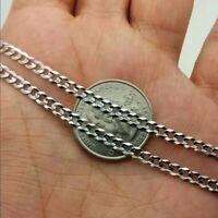 "14K Solid White Gold Cuban Link Chain Necklace 2MM Men's Women Size 10""-24"""