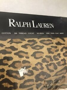 New Ralph Lauren Twin Aragon Neutral Leopard Print Flat Sheet Crafts Sewing NIP