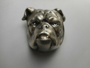 Large 3-D Silver Plated Brass Dog Head Button w/ Great Detail 1-1/2 NP