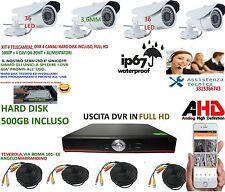 KIT VIDEOSORVEGLIANZA AHD IP CLOUD DVR 4 CANALI 4 TELECAMERE 1.3MP HARDDISK500