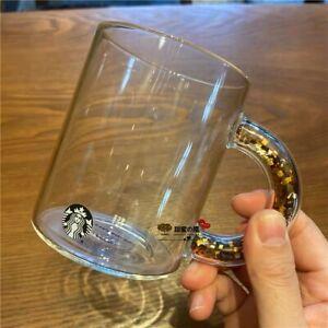 HOT Starbucks Glass Cups Gold Sequins Handle Coffee mugs No Cover Sakura Coaster