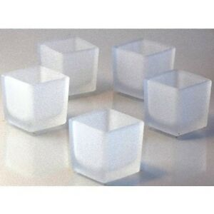 25 Frosted 5cm Glass Tealight Votive Decoration Candle Table Wedding Square Cube