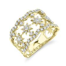 Round Wide Cocktail Right Hand Statement 14K Yellow Gold Diamond Star Ring Women