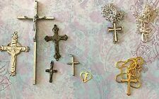 Vintage Lot Of Catholic Religious Crosses & Necklaces-Jewelry Making-Estate