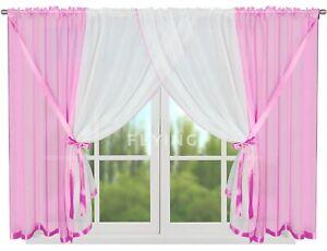 Fertiggardine Vorhang Gardine weiß rosa Fenster Fenstergardine 400/150 Voile
