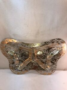 Vtg Mid-Century Gold Guild Glass Butterfly Shaped Serving Hors D'oeves Tray