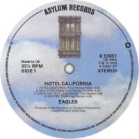 The Eagles. Hotel California. Record label vinyl sticker