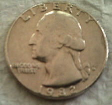 1982D U. S. Washington Quarter circulated, uncertified, raw 25 cent coin at FV