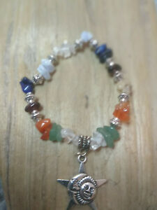 Chakra Bracelet with Moon & Sun Charm Stackable Stretch Bracelet Pagan Spring
