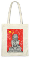 Chinese Lion Statue And Flag Stofftasche Einkaufstasche China Flag Banner Dragon