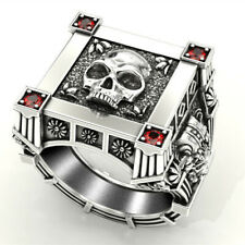 Fashion Skull 925 Silver Rings for Men Jewelry Party Rings Free Shipping Sz 7-13