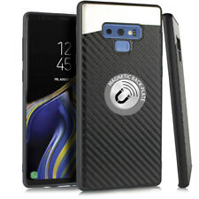 Samsung Galaxy Note 9 Magnetic Backplate Carbon Fiber TPU Rubber Gummy Case BK