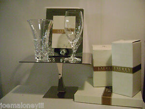 RALPH LAUREN HOLLYWOOD HILLS  CRYSTAL VASE & GLASS W/  VOWS FRAME WEDDING SET