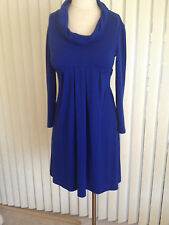 "Vintage ""Muse"" High Quality Royal Blue Knit Baby Doll Style Cow Neck Knit Dress"