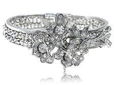 Vintage Crystal Rhinestone Floral Flower Leaf Bouquet Bracelet Xmas Bangle Cuff