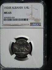 1926 R Albania 1/4 Leku NGC MS 65