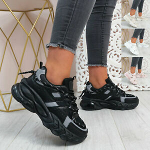 WOMENS LADIES CHUNKY TRAINERS LACE UP RUNNING SNEAKERS SPORT WOMEN SHOES SIZE