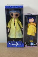 "Neca CORALINE Movie 7"" Bendable Raincoat Doll & 10"" Prop Replica Doll"