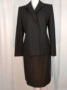 Amanda Smith Grey Pinstripe Wool Blazer and Skirt Business Career Suit Size 10