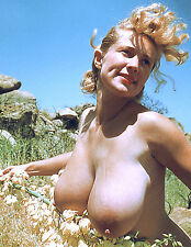 60s Nude Pinup Virginia Bell sun shining on Huge breasts 8 x 10 Photograph