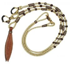 SHOWMAN WESTERN HORSE GENUINE LEATHER ROMAL ROMEL REINS WITH LEATHER POPPER
