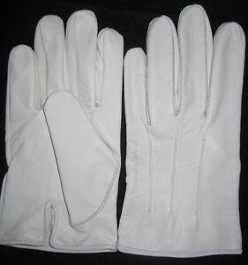 Men's Dress Gloves in White Kidskin Leather