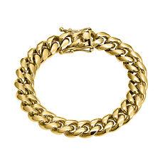 14k Gold Finish Miami Cuban Bracelet 10mm Mens Stainless Steel Custom Style New