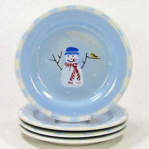 "Hartstone Pottery SNOW PEOPLE 8"" Dessert Plate Set 4Pc Snowman Blue Single Check"