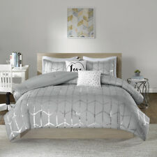 New! ~ Cozy Modern Chic Grey Metallic Silver Chevron Girls Soft Comforter Set