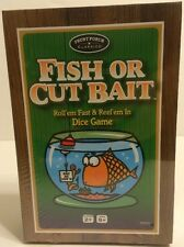 Fish or Cut Bait Dice Game For Fisherman About Fishing in Wooden Box Reel em In