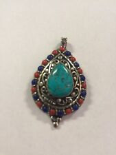 Tibetan Buddhist Turquoise Pewter Pendant Necklace Locket Handmade Nepal 10
