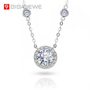 1.26Ct Moissanite Necklace With Side stone 925 Silver For Women Jewelry Gifts