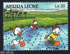 WALT DISNEY UN FRANCOBOLLO SIERRA LEONE HUEY DEWEY AND LOUIE HARVEST RICE nuovo