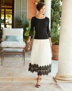 BNWT  Joanna Hope Pleated Lace Trim Skirt Ivory Black UK 18