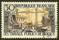 "Francia Sello Stamp Yvert N º 1114"" Ingeniería Civil 30F"" Matasellado MB"