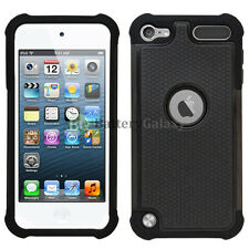 Hybrid Rugged Rubber Hard Case Cover for Apple iPod Touch 5 5th Black 600+Sold