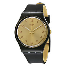 Swatch Originals Gold Dial Black Rubber Ladies Watch GB288