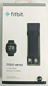 New! FITBIT VERSA CLASSIC BAND Large Black Authentic NIP SEALED! FB166ABBKL