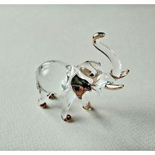Tiny Elephant Figurine Hand Blown Glass Art Statue Animal Crystal Miniature Gift
