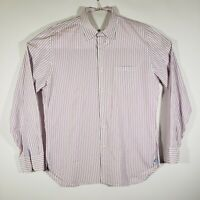 J CREW Mens Button Up Shirt 2 ply 100% Cotton Long sleeve White/Lilac Striped