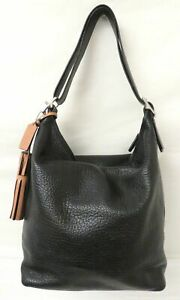 Coach 19913 Black Pebble Leather Large Duffle Shoulder Bag Purse